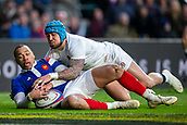 10th February 2019, Twickenham Stadium, London, England; Guinness Six Nations Rugby, England versus France; Gael Fickou of France and Jack Nowell of England tussle over the loose ball