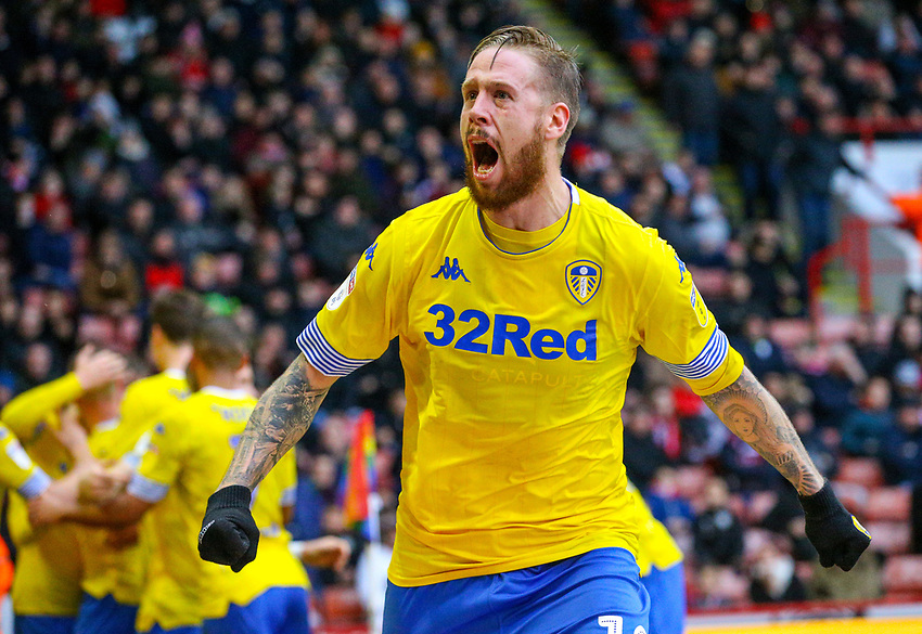 Leeds United's Pontus Jansson celebrates Pablo Hernandez's goal <br /> <br /> Photographer Alex Dodd/CameraSport<br /> <br /> The EFL Sky Bet Championship - Sheffield United v Leeds United - Saturday 1st December 2018 - Bramall Lane - Sheffield<br /> <br /> World Copyright © 2018 CameraSport. All rights reserved. 43 Linden Ave. Countesthorpe. Leicester. England. LE8 5PG - Tel: +44 (0) 116 277 4147 - admin@camerasport.com - www.camerasport.com