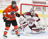 Kyle Rankin (Princeton - 19), Steve Michalek (Harvard - 34) - The Harvard University Crimson defeated the visiting Princeton University Tigers 5-0 on Harvard's senior night on Saturday, February 28, 2015, at Bright-Landry Hockey Center in Boston, Massachusetts.