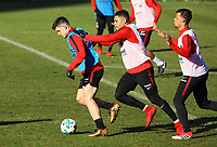Luka Jovic (Eintracht Frankfurt) gegen Simon Falette (Eintracht Frankfurt) und Timothy Chandler (Eintracht Frankfurt) - 30.01.2018: Eintracht Frankfurt Training, Commerzbank Arena
