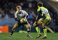 Matthew Tait of Leicester Tigers in possession. Aviva Premiership match, between Leicester Tigers and Sale Sharks on February 6, 2016 at Welford Road in Leicester, England. Photo by: Patrick Khachfe / JMP