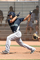 Stefen Romero #55 of the Seattle Mariners plays in a minor league spring training intrasquad game at the Mariners minor league complex on March 27, 2011  in Peoria, Arizona. .Photo by:  Bill Mitchell/Four Seam Images.