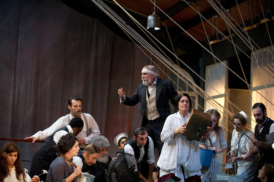 Les Naufarages du Fol Espoir [Aurores]  . A Play collectively devised by Theatre du Soleil half written by Helene Cixous based on a novel by Jules Verne directed by Ariane Minouchkine. Opens at The Edinburgh International Festival at Lowland Hall, Islington on 23/8/12 CREDIT Geraint Lewis