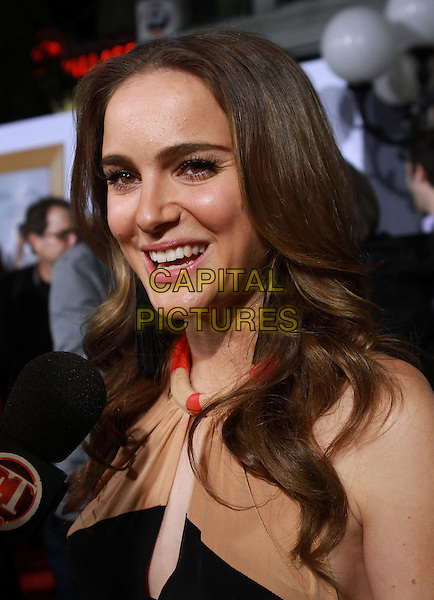 "NATALIE PORTMAN.""No Strings Attached"" Los Angeles Premiere held At The Regency Village Theatre, Westwood, CA, USA..January 11th, 2010.headshot portrait black red cream beige smiling.CAP/ADM/KB.©Kevan Brooks/AdMedia/Capital Pictures."