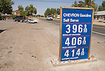 $3.969 to $4.149 per gallon gasoline price sign, Shoshone, California, April 8, 2007.
