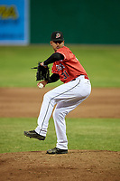 Batavia Muckdogs relief pitcher Jeremy Ovalle (31) delivers a pitch during a game against the Williamsport Crosscutters on June 21, 2018 at Dwyer Stadium in Batavia, New York.  Batavia defeated Williamsport 6-5.  (Mike Janes/Four Seam Images)