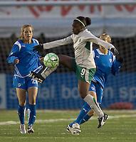 St Louis Athletica forward Enoila Aluko (9) traps the ball as Boston Breakers defender Sue Weber (20) closes. The Boston Breakers defeated Saint Louis Athletica, 2-0, at Harvard Stadium on April 11, 2009.