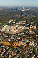 Aerial view of a new structure under construction near Charlotte's Phillips Place and SouthPark malls.