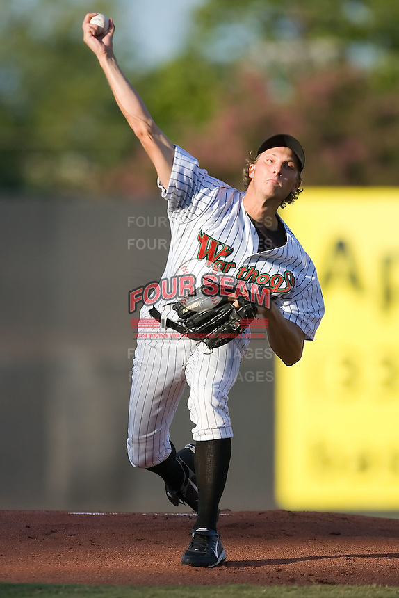 Starting pitcher John Ely (40) of the Winston-Salem Warthogs in action at Ernie Shore Field in Winston-Salem, NC, Thursday July 27, 2008. (Photo by Brian Westerholt / Four Seam Images)