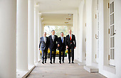 Washington, DC - November 3, 2009 -- (Left to Right) European Council High Representative Javier Solana , United States President Barack Obama, President of the European Commission JosÈ Manuel Barroso and Prime Minister Fredrik Reinfeldt of Sweden, walk from the Oval Office to the Cabinet Room to participate in the U.S.-European Union Summit at the White House, Tuesday, November 3, 2009 in Washington, DC..Credit: Olivier Douliery / Pool via CNP.Credit: Olivier Douliery / Pool via CNP