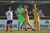 Sam Mott of Hornchurch is congratulated after having saved a Wtiham penalty during Witham Town vs AFC Hornchurch, Bostik League Division 1 North Football at Spa Road on 14th April 2018