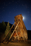 Moonrise Behind Yankee Girl Mine Headframe, Red Mountain Pass, Colorado, 2010