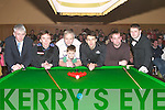 PREPARING: Vernon and Patrick Devane (Ballinskilligs) and Ray Boland (Castlegregory) preparing to play Ken Doherty, former World Champion and Ronnie O'Sullivan, current World Champion, in the snooker exhibition at Ballyroe Heights Hotel, Tralee, on Thursday night. Also in pic were Mark O'Sullivan (Manager Ballyroe Heights Hotel), and Eddie Regan (Referee)..