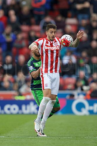 02.04.2016. Britannia Stadium, Stoke, England. Barclays Premier League. Stoke City versus Swansea City.  Stoke City forward Joselu controls a high ball.