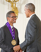 United States President Barack Obama presents the 2015 National Medal of Arts to Ralph Lemon, Dancer, Choreographer, Writer, & Visual Artist of Brooklyn, New York, during a ceremony in the East Room of the White House in Washington, DC on Thursday, September 22, 2016.<br /> Credit: Ron Sachs / CNP