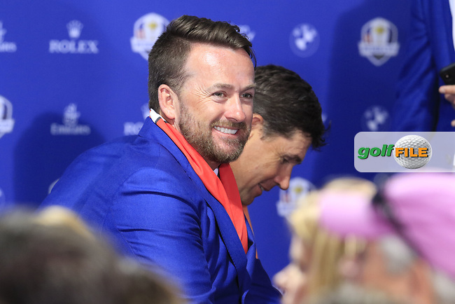 Graeme McDowell (Team Europe Vice-Captain) at the press conference after Europe win the Ryder Cup 17.5 to 10.5 at the end of Sunday's Singles Matches at the 2018 Ryder Cup 2018, Le Golf National, Ile-de-France, France. 30/09/2018.<br /> Picture Eoin Clarke / Golffile.ie<br /> <br /> All photo usage must carry mandatory copyright credit (© Golffile | Eoin Clarke)
