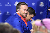 Graeme McDowell (Team Europe Vice-Captain) at the press conference after Europe win the Ryder Cup 17.5 to 10.5 at the end of Sunday's Singles Matches at the 2018 Ryder Cup 2018, Le Golf National, Ile-de-France, France. 30/09/2018.<br /> Picture Eoin Clarke / Golffile.ie<br /> <br /> All photo usage must carry mandatory copyright credit (&copy; Golffile | Eoin Clarke)