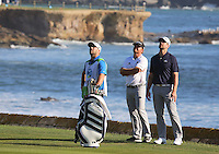 160213 J.B. Holmes and Aaron Rodgers during Saturday's Third Round of The AT&T National Pro Am at The Pebble Beach Golf Links in Carmel, California. (photo credit : kenneth e. dennis/kendennisphoto.com)
