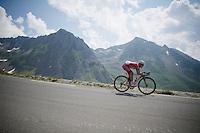 Yuri Trofimov (RUS/Katusha) coming down over the top of the Col du Tourmalet (HC/2115m/17.1km/7.3%)<br /> <br /> 2014 Tour de France<br /> stage 18: Pau - Hautacam (145km)