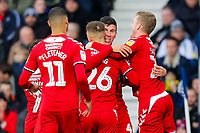29th December 2019; The Hawthorns, West Bromwich, West Midlands, England; English Championship Football, West Bromwich Albion versus Middlesbrough; Middlesbrough players celebrate Daniel Ayala's opening goal after 16 minutes (0-1) - Strictly Editorial Use Only. No use with unauthorized audio, video, data, fixture lists, club/league logos or 'live' services. Online in-match use limited to 120 images, no video emulation. No use in betting, games or single club/league/player publications