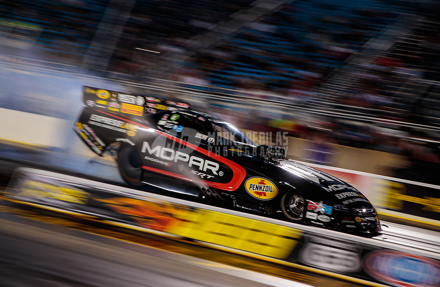 Jun 1, 2018; Joliet, IL, USA; NHRA funny car driver Matt Hagan during qualifying for the Route 66 Nationals at Route 66 Raceway. Mandatory Credit: Mark J. Rebilas-USA TODAY Sports