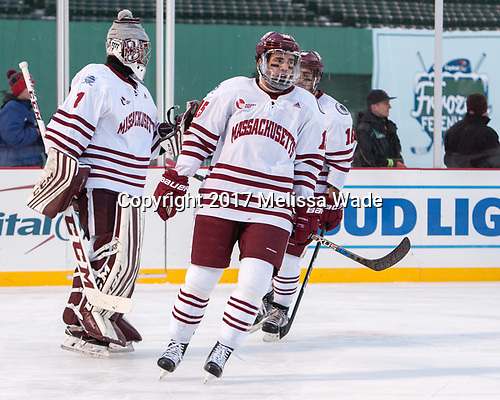 Ryan Wischow (UMass - 1), Ray Pigozzi (UMass - 15), Steven Iacobellis (UMass - 16) - The Boston University Terriers defeated the University of Massachusetts Minutemen 5-3 on Sunday, January 8, 2017, at Fenway Park in Boston, Massachusetts.The Boston University Terriers defeated the University of Massachusetts Minutemen 5-3 on Sunday, January 8, 2017, at Fenway Park.