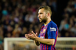 Jordi Alba of FC Barcelona gestures during the La Liga match between Barcelona and Real Sociedad at Camp Nou on May 20, 2018 in Barcelona, Spain. Photo by Vicens Gimenez / Power Sport Images