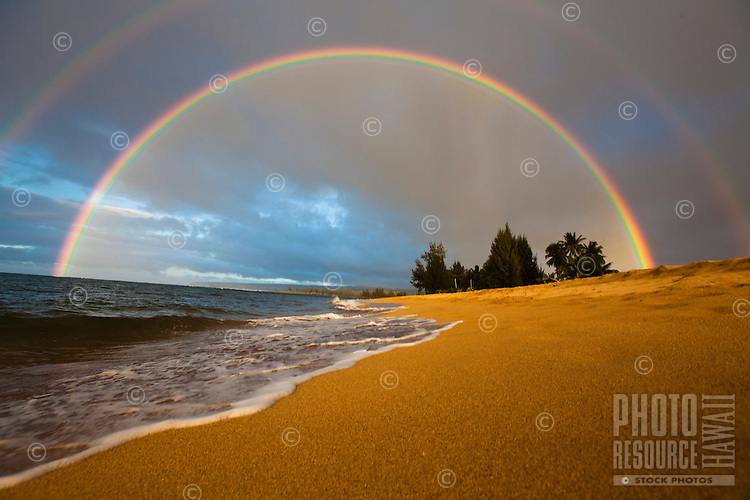 A double rainbow at Waialua beach, North Shore, Oahu