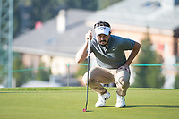 Mike Lorenzo-Vera (FRA) lines up his putt on the 11th hole during second round at the Omega European Masters, Golf Club Crans-sur-Sierre, Crans-Montana, Valais, Switzerland. 30/08/19.<br /> Picture Stefano DiMaria / Golffile.ie<br /> <br /> All photo usage must carry mandatory copyright credit (© Golffile | Stefano DiMaria)