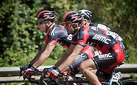Philippe Gilbert (BEL/BMC) &amp; his teammate Amaël Moinard (FRA/BMC)<br /> <br /> Brabantse Pijl 2014