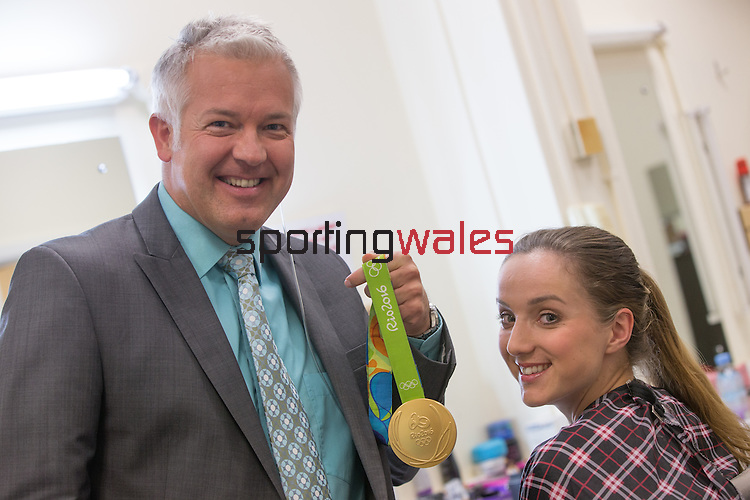 Olympic gold medalist Elinor Barker with BBC weather presenter Derek Brockway.<br /> BBC Wales<br /> 01.09.16<br /> &copy;Steve Pope Sportingwales