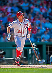30 July 2017: Washington Nationals first baseman Ryan Zimmerman watches the trajectory of his second home run of the game, a solo shot to right center in the 7th inning, against the Colorado Rockies at Nationals Park in Washington, DC. With the homer Zimmerman adds to his lead as Washington's all-time home run leader, having passed Frank Howard with his 238th career longball in the 3rd inning. The Rockies defeated the Nationals 10-6 in the second game of their 3-game weekend series. Mandatory Credit: Ed Wolfstein Photo *** RAW (NEF) Image File Available ***
