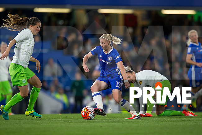 Bethany England of Chelsea Ladies in action during the UEFA Women's Champions League match between Chelsea Ladies and VfL Wolfsburg at Stamford Bridge, London, England on 5 October 2016. Photo by Andy Rowland.