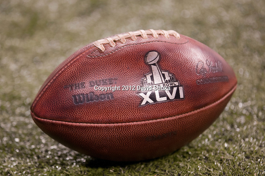 """An official NFL Wilson """"The Duke"""" Super Bowl XLVI football is seen on the field during the NFL Super Bowl XLVI football game between the New York Giants and the New England Patriots on Sunday, Feb. 5, 2012, in Indianapolis. The Giants won 21-17 (AP Photo/David Stluka)..."""