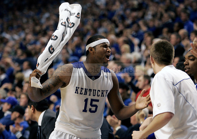 Freshman forward DeMarcus Cousins cheers after UK reclaims the lead in the second half of UK's win over Louisville at Rupp Arena on Saturday, Jan. 2, 2010. Photo by Britney McIntosh | Staff