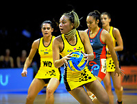 Mila Reulelu-Buchanan in action during the Beko National Netball League match between the Netball Central and Mainland at TSB Bank Arena in Wellington, New Zealand on Sunday, 9 April 2017. Photo: Dave Lintott / lintottphoto.co.nz