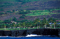 Keauhou, Big Island, from offshore. Resort and golf course below Kailua-Kona
