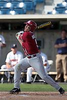 Caleb Bushyhead (5) of the Oklahoma Sooners bats against the Pepperdine Waves at Eddy D. Field Stadium on February 18, 2012 in Malibu,California. Pepperdine defeated Oklahoma 10-0.(Larry Goren/Four Seam Images)