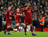 Liverpool's Fabinho (right) and Andrew Robertson (left) gather themselves ahead of kick-off<br /> <br /> Photographer Rich Linley/CameraSport<br /> <br /> UEFA Champions League Round of 16 First Leg - Liverpool and Bayern Munich - Tuesday 19th February 2019 - Anfield - Liverpool<br />  <br /> World Copyright © 2018 CameraSport. All rights reserved. 43 Linden Ave. Countesthorpe. Leicester. England. LE8 5PG - Tel: +44 (0) 116 277 4147 - admin@camerasport.com - www.camerasport.com