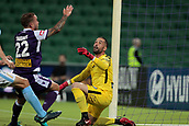 9th January 2018, nib Stadium, Perth, Australia; A League football, Perth Glory versus Melbourne City; Dean Bouzanis goalkeeper for Melbourne City watches the ball pass safely over the goal during the first half
