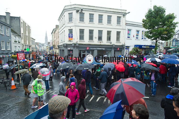 A wet Sunday afternoon during Fleadh Cheoil na hEireann in Ennis. Photograph by John Kelly.