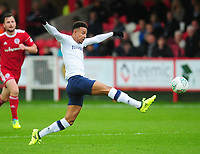 Preston North End's Callum Robinson stretches for the ball<br /> <br /> Photographer Kevin Barnes/CameraSport<br /> <br /> The Carabao Cup - Accrington Stanley v Preston North End - Tuesday 8th August 2017 - Crown Ground - Accrington<br />  <br /> World Copyright &copy; 2017 CameraSport. All rights reserved. 43 Linden Ave. Countesthorpe. Leicester. England. LE8 5PG - Tel: +44 (0) 116 277 4147 - admin@camerasport.com - www.camerasport.com