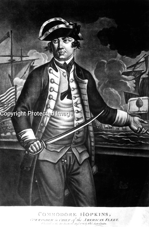 Commodore Hopkins, Commander in Chief of the American Fleet.  Copy of mezzotint, 1776.  (George Washington Bicentennial Commission)<br />