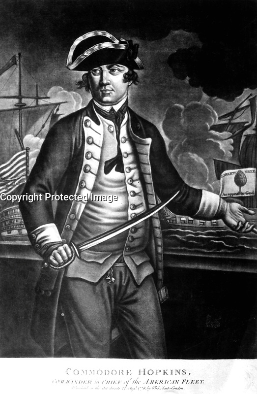 Commodore Hopkins, Commander in Chief of the American Fleet.  Copy of mezzotint, 1776.  (George Washington Bicentennial Commission)<br />Exact Date Shot Unknown<br />NARA FILE #:  148-GW-461<br />WAR &amp; CONFLICT #:  44