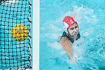 LOS ANGELES, CA - MAY 13: Julia Hermann #1 of Stanford University is unable to block a the University of Southern California goal during the Division I Women's Water Polo Championship held at the Uytengsu Aquatics Center on the USC campus on May 13, 2018 in Los Angeles, California. USC defeated Stanford 5-4. (Photo by Tim Nwachukwu/NCAA Photos via Getty Images)