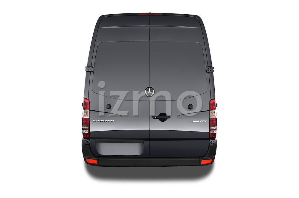Straight rear view of 2016 Mercedes Benz Sprinter-Cargo-Van 2500-144-WB-High-Roof 4 Door Cargo Van Rear View  stock images