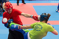 Ursa Terdin (R) of Slovenia and silver medalist Stefanie Kemper (L) of Germany fight in the 2 LC 043 S F -70 kg final at the WAKO (World Association of Kickboxing Organizations) World Kick-boxing Championships in Budapest, Hungary on Nov. 10, 2017. ATTILA VOLGYI
