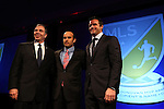 15 January 2015: Landon Donovan (center) poses with Los Angeles Galaxy head coach Bruce Arena (left) and team president Chris Klein (right). The Major League Soccer honored Landon Donovan by renaming their league Most Valuable Player Award after him in a tribute held at the Pennsylvania Convention Center in Philadelphia, Pennsylvania.