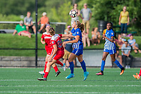 Boston, MA - Saturday July 01, 2017: Meggie Dougherty Howard and Rosie White during a regular season National Women's Soccer League (NWSL) match between the Boston Breakers and the Washington Spirit at Jordan Field.