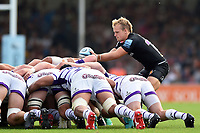 Stu Townsend of Exeter Chiefs looks to put the ball into a scrum. Gallagher Premiership match, between Exeter Chiefs and Leicester Tigers on September 1, 2018 at Sandy Park in Exeter, England. Photo by: Patrick Khachfe / JMP